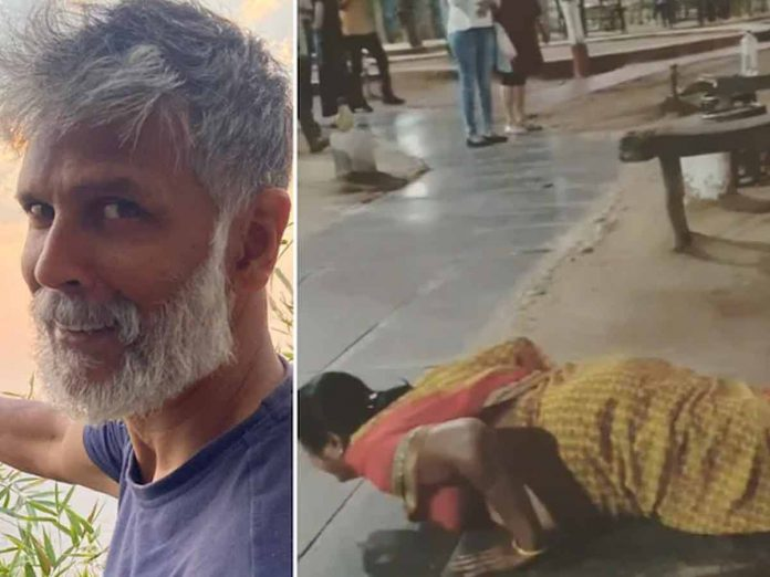 Milind Soman asks woman to do push-ups for selfie