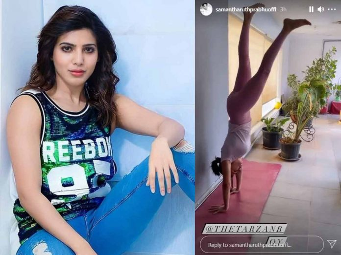 Samantha Shares her Headstand Work Out Video