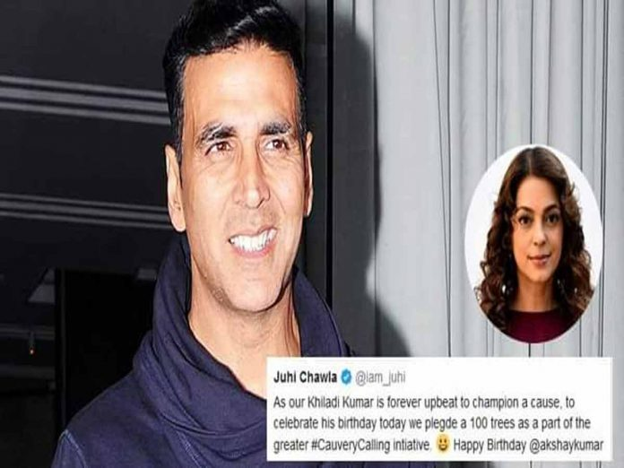 Juhi Chawla pledged 100 trees as a part of the Cauvery Calling campaign as Akshay's birthday gift