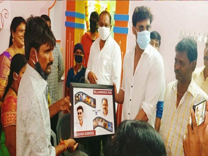 Bellamkonda Sai Srinivas entire family attended the House warming ceremony of that fan in Kurnool