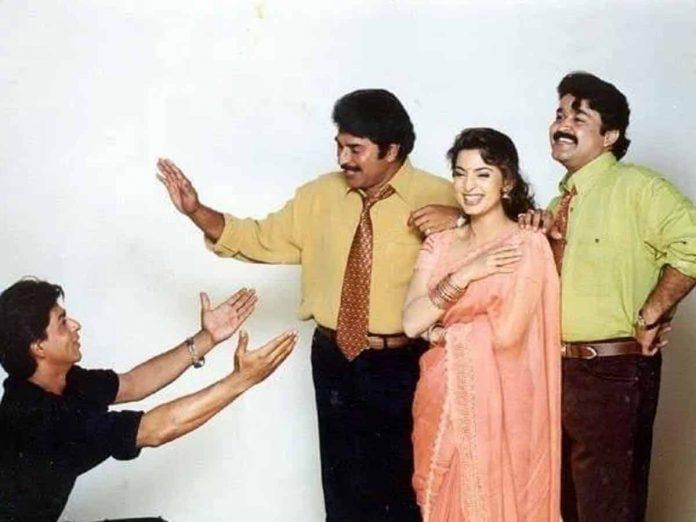 SRK, Mammootty, Mohanlal and Juhi Chawla ThrowBack Pics Goes Viral Throw Back Pics Goes Viral
