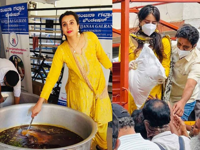sanjana galrani help to needy people due to covid-19