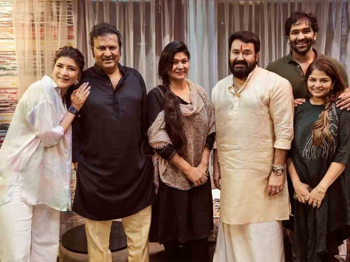 Mohanlal met Mohan Babu Family in Hyderabad