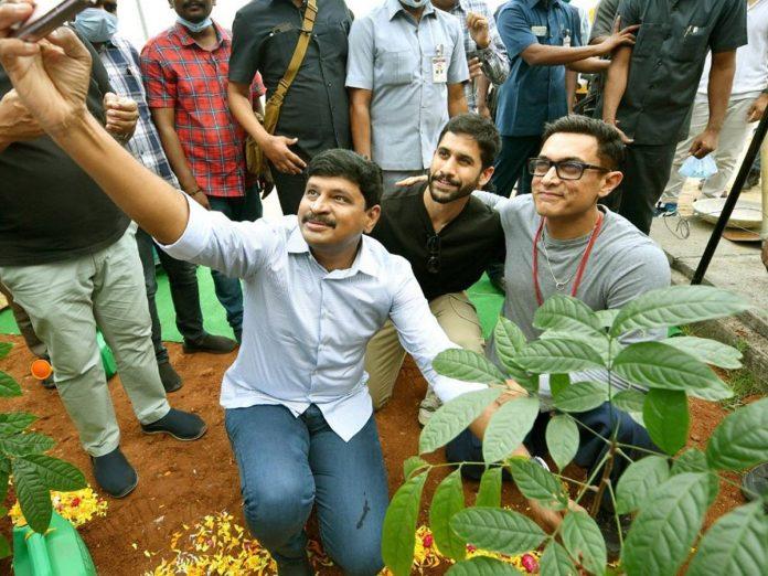 Amir Khan along with Naga Chaitanya participated in Green India Challenge