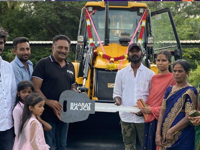 Prakash Raj gifts JCB to a family in Karnataka